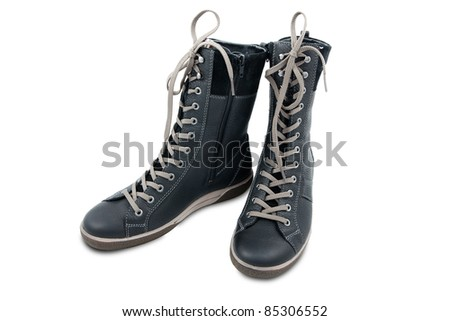 Comfortable high boots with laces for walks and hikes