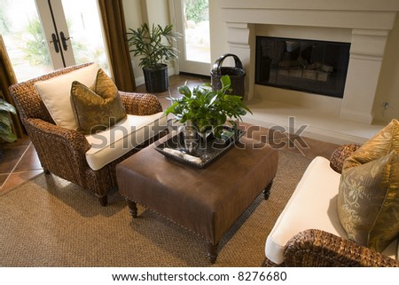 Comfortable lounge area with a fireplace.