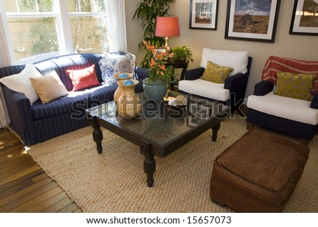 Comfortable luxury home living room. - stock photo
