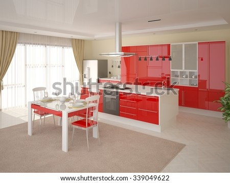 Comfortable modern kitchen, 3d rendering. - stock photo