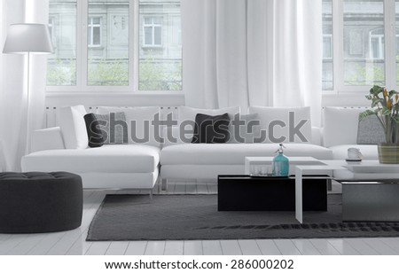 Comfortable modern living room interior with a close up view of a comfortable white suite grouped on a grey rug below large windows allowing in lots of daylight. 3d Rendering