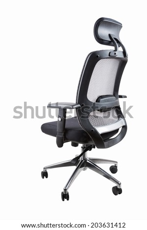 comfortable office swivel chair isolated on white with clipping path  - stock photo