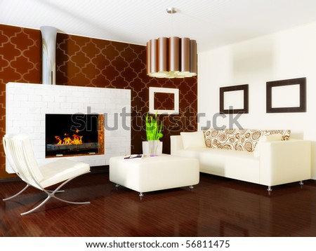 comfortable room with white furniture  and  fireplace