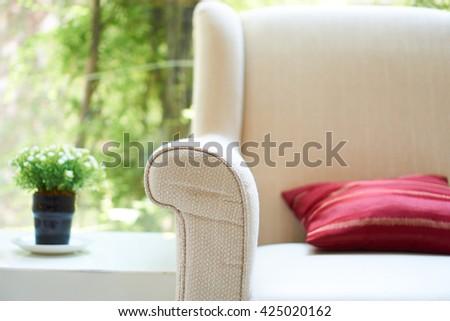 comfortable sofa setting - stock photo