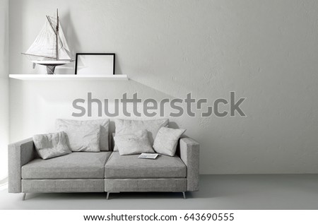Comfortable Sofa With Cushions In A Home Interior With Minimalist Decor And  A Shelf Holding A