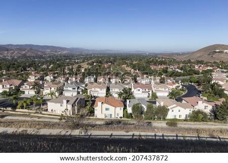 Comfortable suburban neighborhood in Ventura County's Simi Valley near Los Angeles, California.   - stock photo