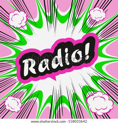 Comic book background Radio! sign Card Pop Art office stamp with the word Radio - stock photo