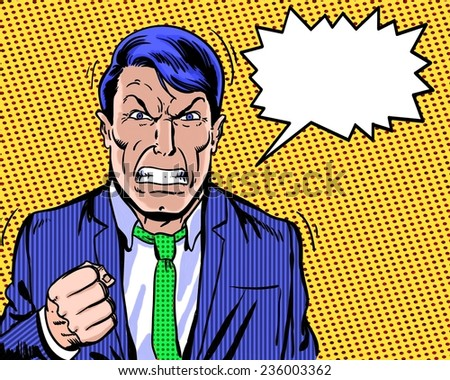 comic book illustrated angry manager with dialogue balloon and orange background - stock photo