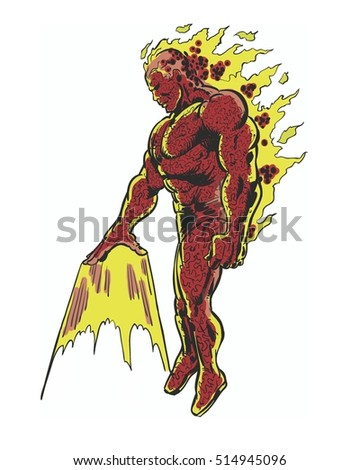 comic book illustrated fiery muscular character