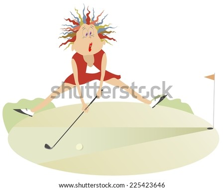 Comic cartoon women is playing golf  - stock photo