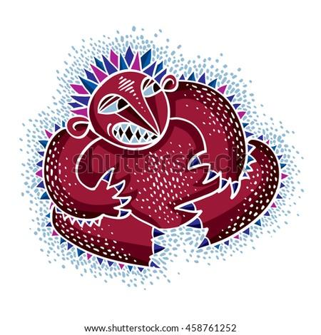 Comic Character Funny Red Alien Monster Stock Illustration 458761252