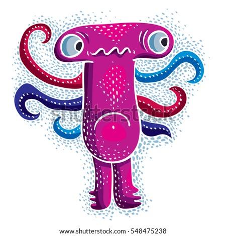 Comic Character Sad Purple Alien Monster Stock Illustration