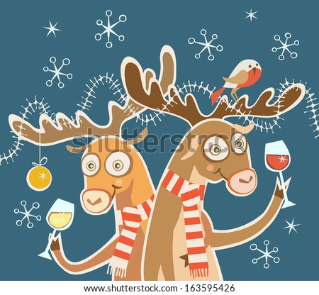 Comic christmas card. Couple of cheerful reindeer with glasses of wine, bird, festive decoration. Concept of cheery party. Holiday illustration in cartoon style with fairy tale funny personages - stock photo