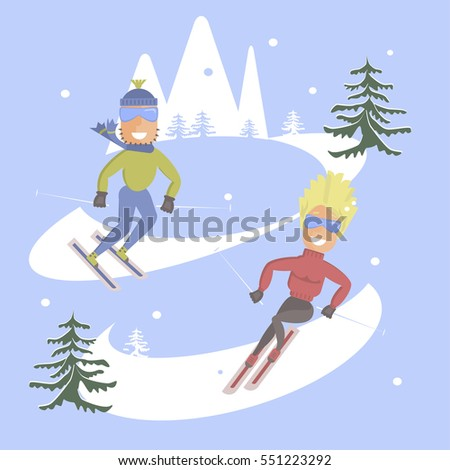 Comic concept flat design. People skiing. Skis isolated, skier and snow, season in mountain, cold downhill, recreation lifestyle, activity speed winter sportextreme illustration. Rastered copy