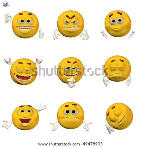 comic emoticon set - stock photo