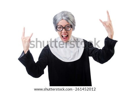 Comic nun isolated on white - stock photo
