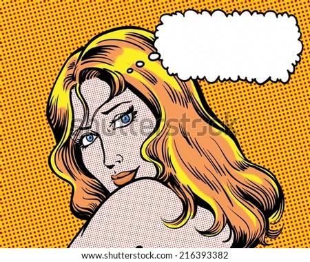 comic pop art beauty glamorous girl with thought bubble orange - stock photo