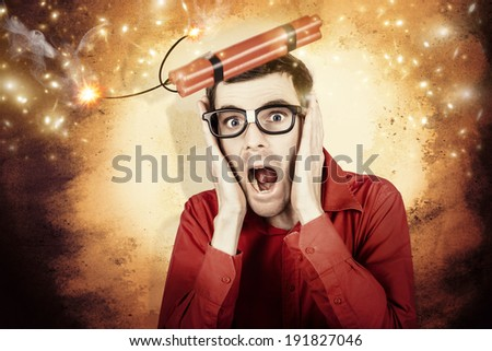 Comic portrait of a nerd businessman shouting out in fear from a stick of explosive dynamite being launched into the air - stock photo