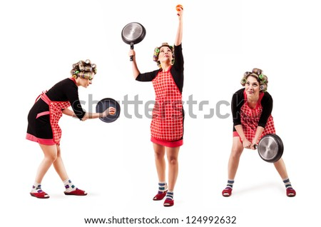 Comic scene - housewife in tennis player pose with pan for frying - stock photo