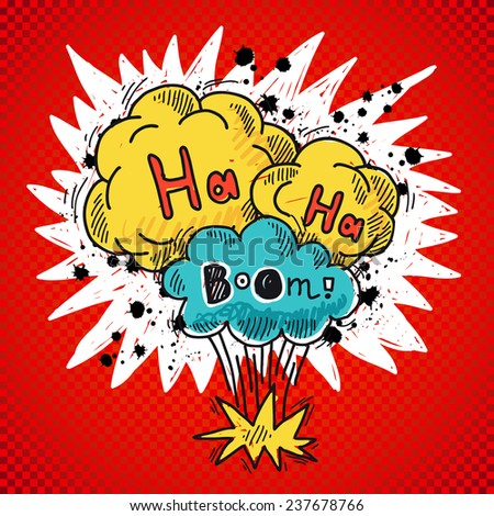 Comic speech bubble colored sketch poster with bomb explosion elements  illustration - stock photo
