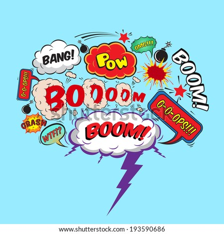 Comic speech bubble design element boom splash bomb symbol  illustration - stock photo