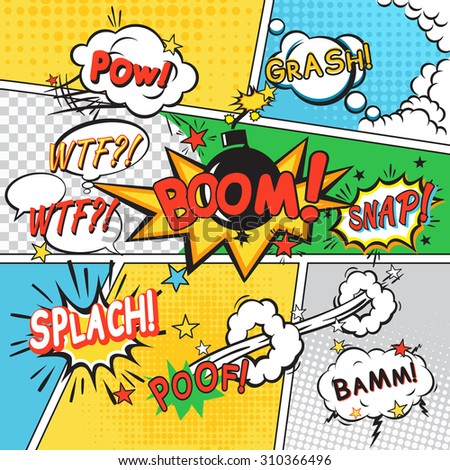 Comic speech bubbles in pop art style on colored cartoon background  illustration - stock photo