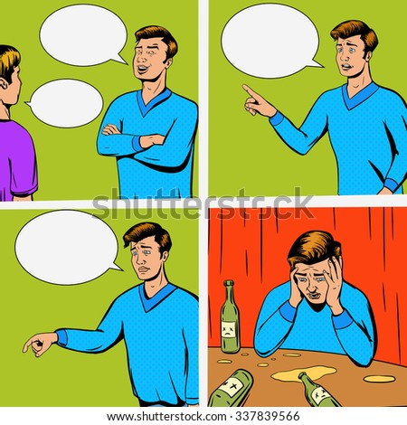Comic strip with debate of two persons and disappointing raster illustration. Comic book imitation. Pop art retro style - stock photo