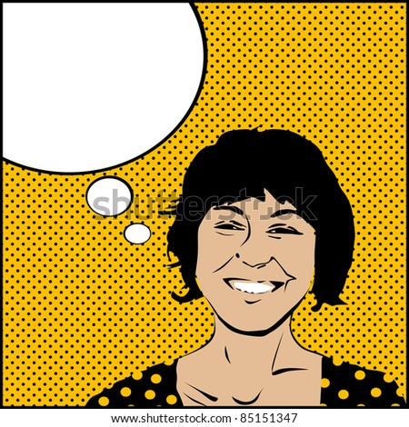 Comic style drawing on a pop woman with speech bubble - stock photo