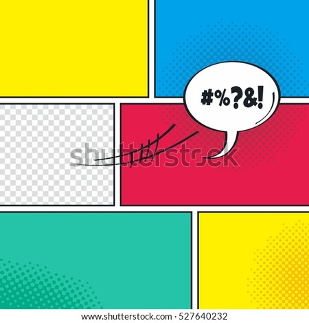 Comic Book Template Speech Bubble Halftone Stock Vector