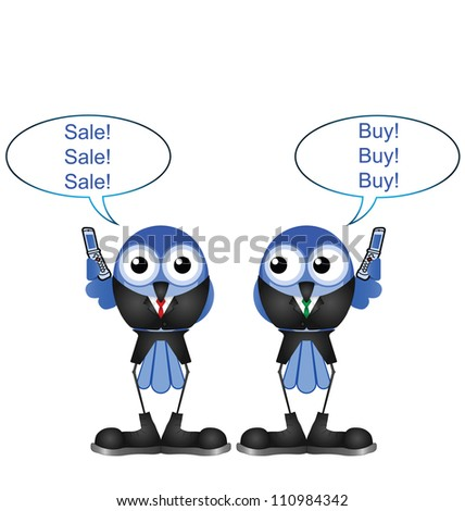 Comical bird stock traders buying and selling shares isolated on white background - stock photo