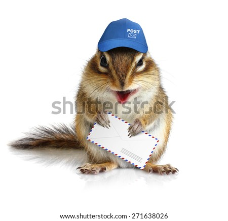 comical chipmunk postman hold mail envelope - stock photo