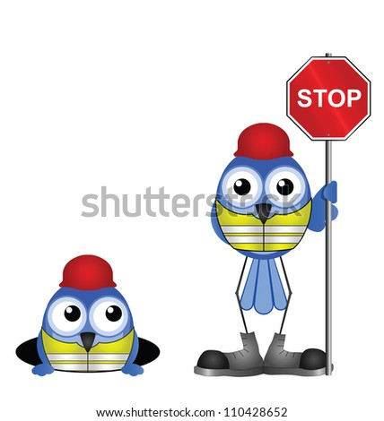 Comical construction workers with stop sign isolated on white background - stock photo