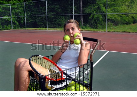 Tennis Girl Picture Comical Girl Sits in Tennis