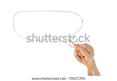 comics bubble and hand with pencil isolated on white background - stock photo