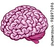 Comics Draw of Human Brain. Rasterized Version - stock photo