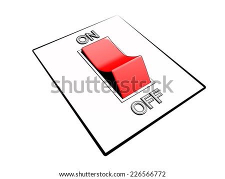 comics-style illustration of a control panel with a red on/off power switch button in on mode, referring to concepts such as turning on a device, starting something, be ready, energy and power  - stock photo
