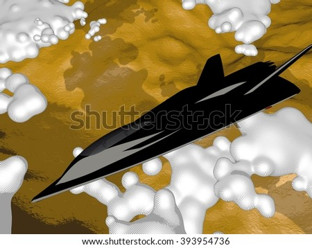 Comics-style illustration of a futuristic fictional arrow-shaped black stealth jet aircraft flying above clouds and desert