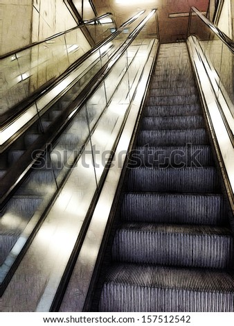comics-style illustration of escalators as found in malls, airports, subway and train station, and referring to concepts such as mobility, shopping, as well as transit and travels - stock photo