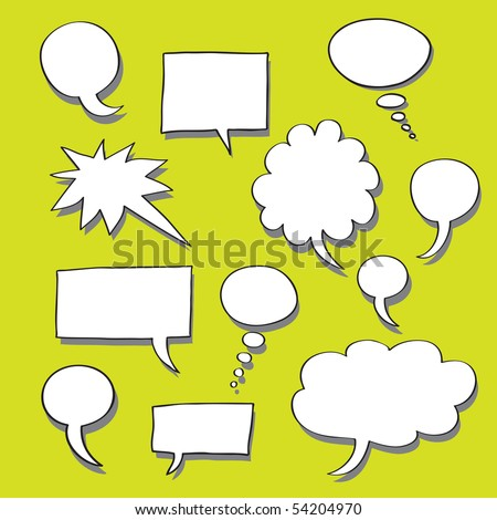 Comics Word and Thought Bubbles With Space For Text - stock photo