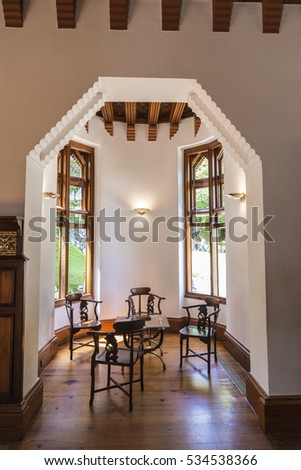 Comillas, Spain - August 11, 2016: Palace of El Capricho or Villa Quijano by the architect Gaudi in modernist style in the village of Comillas in Cantabria, Spain