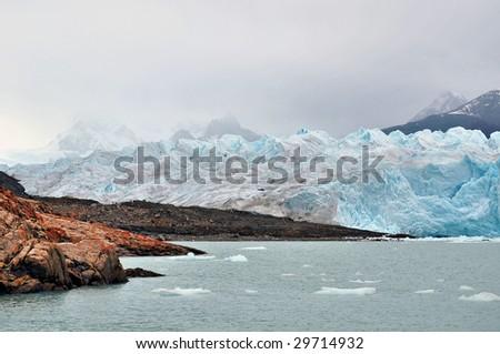 Coming Ashore To Glacier Perito Moreno - stock photo