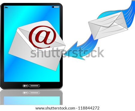 Coming mail to modern 3d tablet kompijuter/Email comes in tablet computer - stock photo