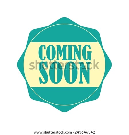 Coming soon blue label, Product Badge - icon isolated on white background. - stock photo