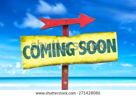 Coming Soon sign with beach background - stock photo