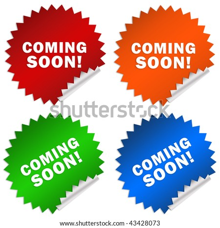 Coming soon sticker isolated on white