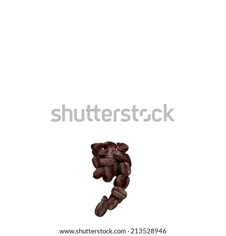 Comma. Alphabet from coffee beans isolated on white.  - stock photo