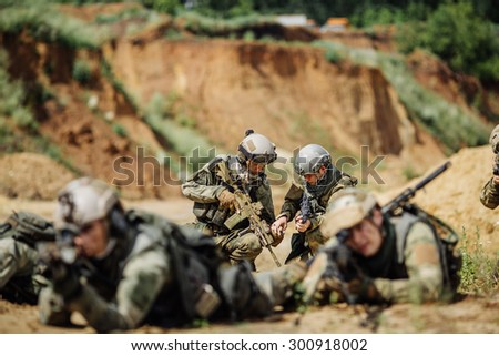 command rangers during the military operation - stock photo