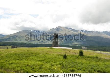 Commando Memorial, Highlands - Scotland / Memorial dedicated to the men of the original British Commando Forces raised during World War II - stock photo