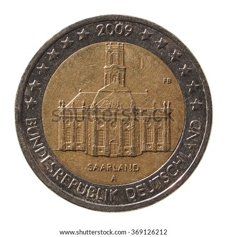 Commemorative 2 Euro coin (Saarland) isolated over white background - stock photo