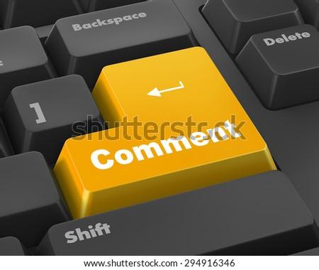 comment enter key 3d render - stock photo